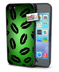 Green Lips Pattern Black Plastic Cover Case for iphone 5 5s