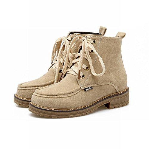 Mee Shoes Damen chunky heel Schnürsenkel Plateau Stiefel Beige