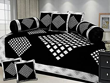 ST DECOR STORE 500 TC Velvet Diwan Set, 1 Single Bedsheet (88 x 56-inch), 5 Cushion Covers (16 x 16-inch) and 2 Bolster Covers (31 x 16-inch) (Black)