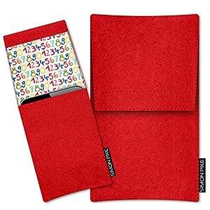 SIMON PIKE Cáscara Funda de móvil NewYork 12 rojo Samsung GALAXY Note EDGE Fieltro de lana
