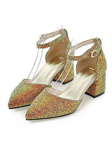 LFNLYX Zapatos de mujer-Tacón Robusto-D'Orsay y Dos Piezas / Puntiagudos-Sandalias-Vestido / Casual / Fiesta y Noche-Purpurina-Negro / Rosa / Oro Pink
