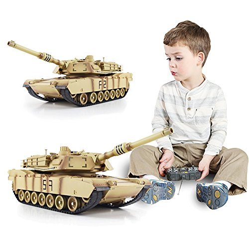 Luckstar Remote Control Tank - 1:24 Electric RTR RC Tank 2.4Ghz U.S. Armed Forces M1A2 Abrams Air Soft RC Battle Tank Smoke & Sound Military Battle Tank for Kids Children ()