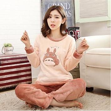 67a80b3753 MH-RITA Otoño Invierno pijamas de franela engrosamiento mujer dormir hembra  Coral Fleece Cartoon Pajama establece adorable oso Salón