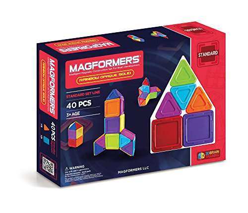 Magformers Rainbow Opaque Solid 40 pieces