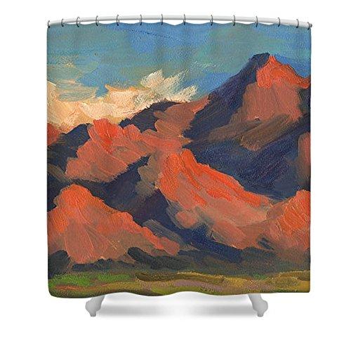 Pixels Shower Curtain (74'' x 71'') ''La Quinta Mountains Morning''