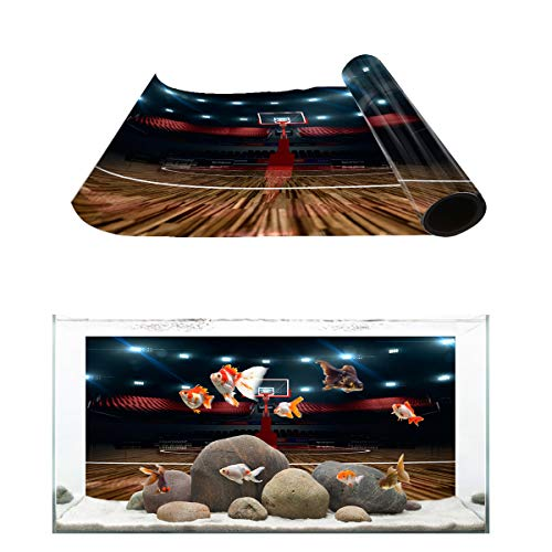 Fantasy Star Aquarium Background Indoor Basketball Court Stadium Fish Tank Wallpaper Easy to Apply and Remove PVC Sticker Pictures Poster Background Decoration 24.4