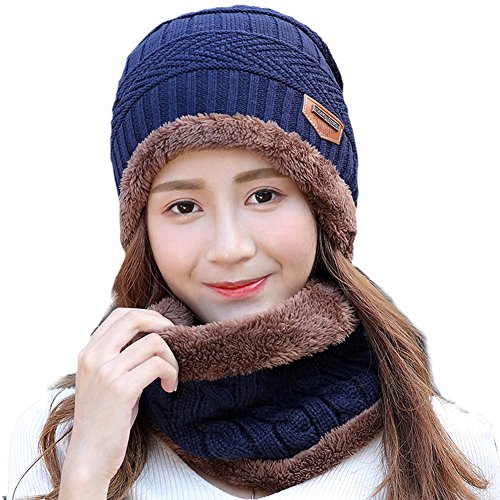 - SD SHADOW DOMAIN Beanie Hat Scarf Set Winter Warm Knit Hat Thick Skull Cap For Men and Women (02 Blue, Beanie Hat)