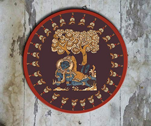 Hand painted Indian 'Kalamkari Krishna' Wall Plate