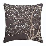 "Designer Brown Pillow Shams, Jute & Mother Of Pearls Tree Botanical Pillow Shams, 24""x24"" Pillow Shams, Square Cotton Linen Shams, Contemporary Pillow Shams - Nature Trail"