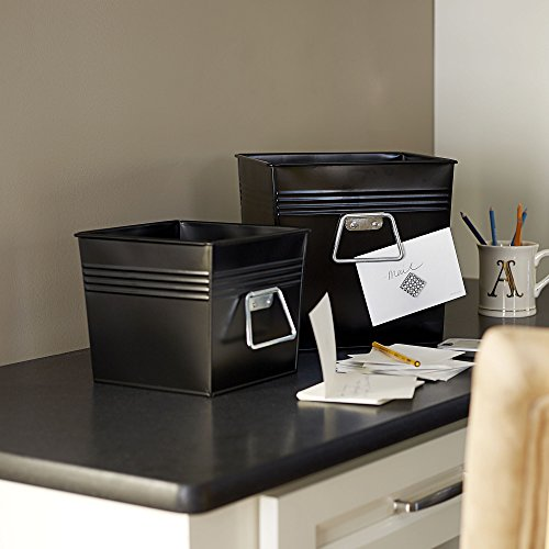 Amazon.com: Household Essentials Decorative Metal Storage Bin Set Of 2,  Medium And Small, Yellow: Home U0026 Kitchen
