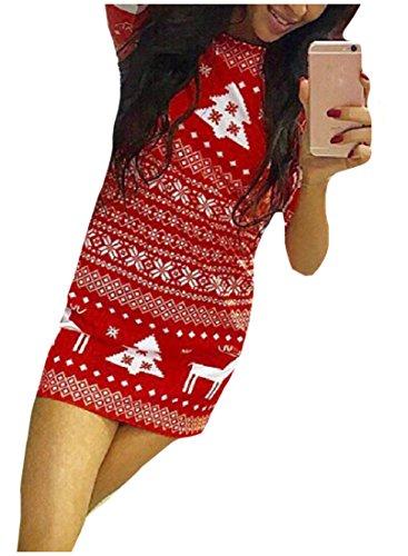 Mode Automne Hiver Confortables Femmes Ras Du Cou Noël Rouge Robe Moulante