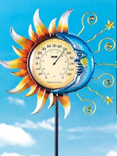 Flower Garden Stakes Outdoor Round Thermometer Sun and Moon Decor