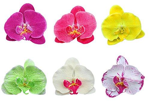 Boolavard® TM dell'orchidea dei capelli clip del fiore nuziale Hawaii Party Girl (Bianco)