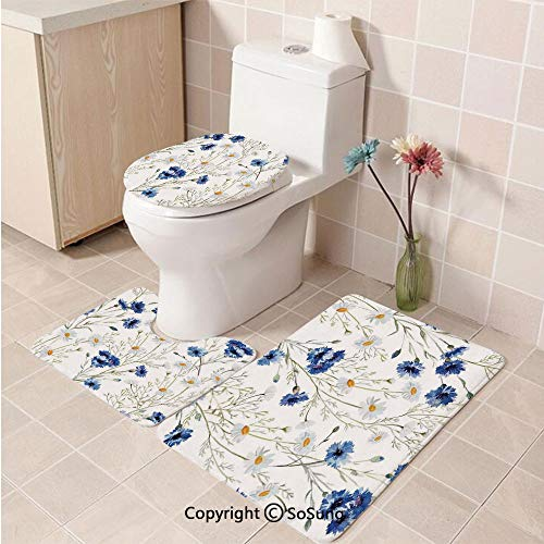 3pcs/Set Watercolor Flower Style Soft Comfort Flannel Toilet Mat,Wildflowers and Cornflowers Daisies Blooms Flower Buds,Plush Bathroom Decor Mat with Non Slip Backing,Blue Sage Green Marigold