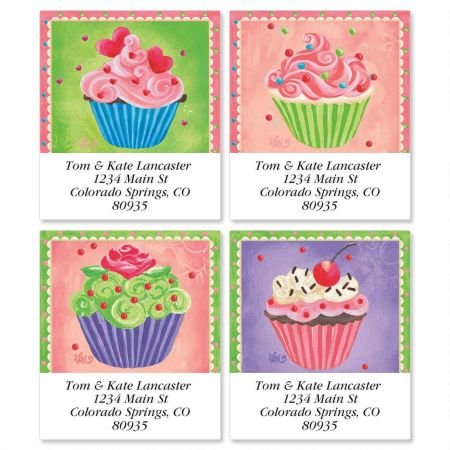 Cupcakes Square Return Address Labels (4 Designs) - Set of 144 1-1/8