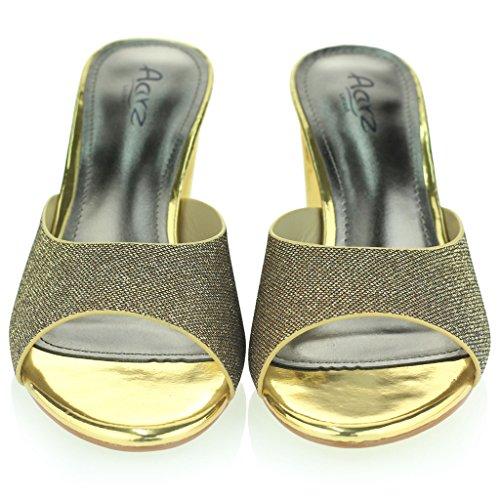 Mujer Señoras Cuadrado Punta Abierta Hebilla Detalle Correa De Tobillo Metálico Medio Tacón De Bloque Noche Fiesta Boda Prom Sandalias Zapatos Tamaño Oro