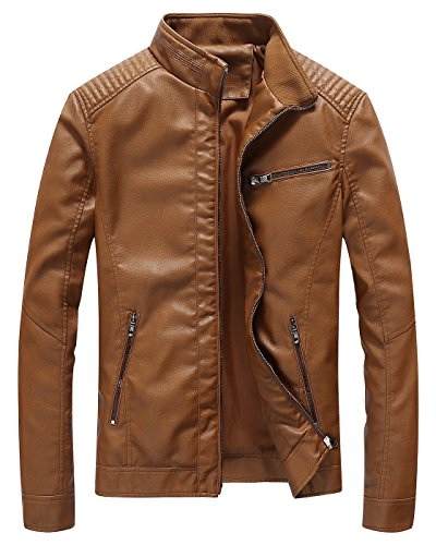 Fairylinks Leather Jacket Men Slim Fit Motorcyle Lightweight Brown