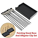 Black Painting Stand Base with 10Pcs Alligator Clips Model Spraying Modeling Tools
