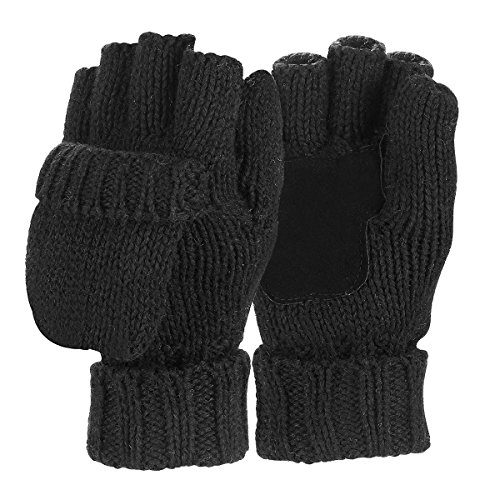 Sudawave Men's Knitted Wool Gloves with Leather Patch on Palm Micro Fleece Lined Warm Winter Gloves (Black)