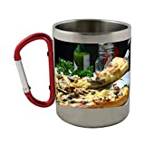 Stainless steel mug with carabiner handle with Pizza, Slice, Italian, Toppings, Dinner