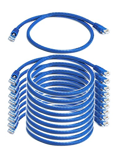 iMBAPrice (10 Pack) Blue 2 Feet (2ft) Molded UTP Cat6 Ethernet Network Patch Cable RJ45 M/M