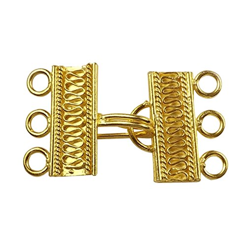 (18K Gold Overlay Multi Strand Clasp With 3 Holes CG-233-22X9MM)