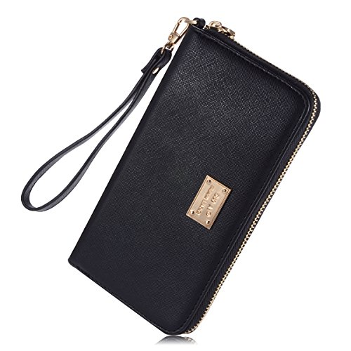 Womens-Leather-Credit-Card-Wallet-to-Organize-Your-CashPassportCardand-Phone-with-Removable-Wristlet-StrapZipper-Clutch-Wallet-for-women-and-teen-girls