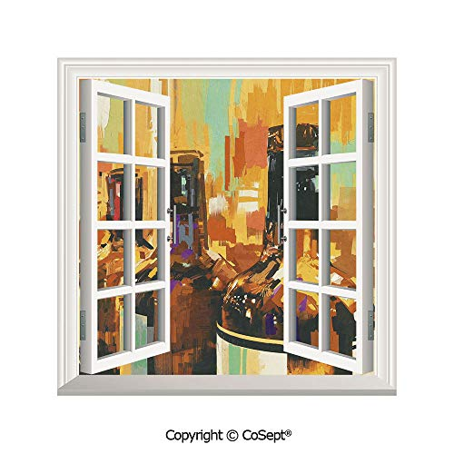 SCOXIXI Creative Window View Wall Decor,Colorful Painting Style Bottles of Wine with Vivid Bruststrokes Beverage Artwork Print Decorative,Window Stickers Have Beautiful Scenery(26.65x20 inch) (Wine Co Ct Southern)