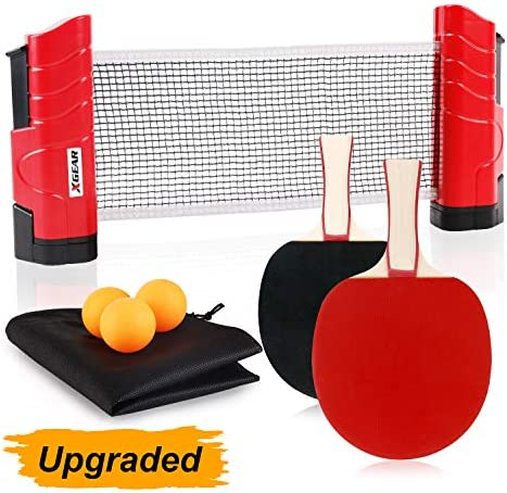 XGEAR Anywhere Ping Pong Equipment to-Go Includes Retractable Net Post, 2 Ping Pong Paddles, 3 pcs Balls, Attach to Any Table Surface, for All Ages