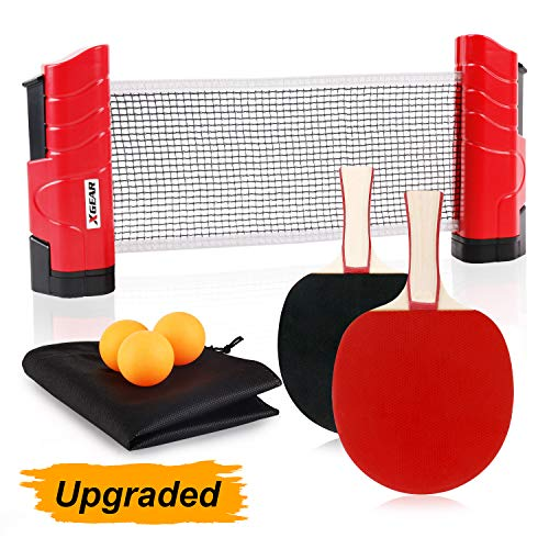 Find Cheap XGEAR Anywhere Ping Pong Equipment to-Go Includes Retractable Net Post, 2 Ping Pong Paddl...