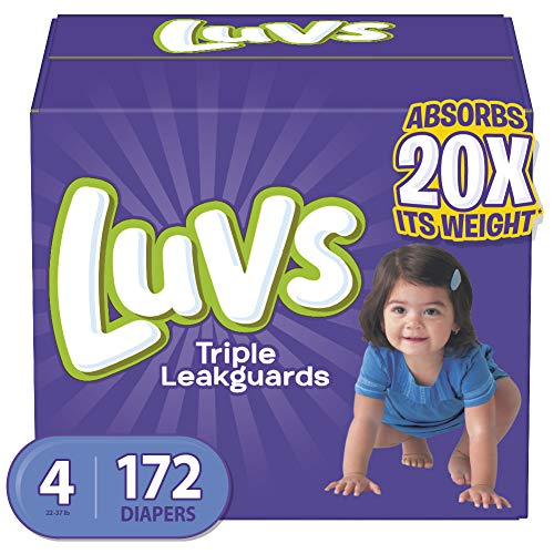 Luvs (LUVSD) Diapers Size 4, 172 Count – Luvs Ultra Leakguards Disposable Baby Diapers, ONE MONTH SUPPLY (Packaging May Vary)