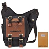 KAUKKO Men's Boys Vintage Canvas Shoulder Messenger Bag Sling School Bags Military Leather Patchwork Chest Pack (Khaki)-Christmas/Birthday Gift for Families and Friends (Black)