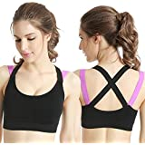 Glamroot Women's Padded full Coverage Quick Dry Padded Shockproof Racer Back Sports Bra with Removable Soft Cups for Gym…