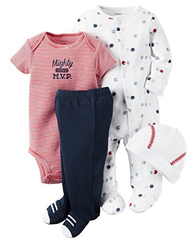 4 Piece Layette Set (Baby) - Mighty Cute MVP-Newborn (Red Layette)