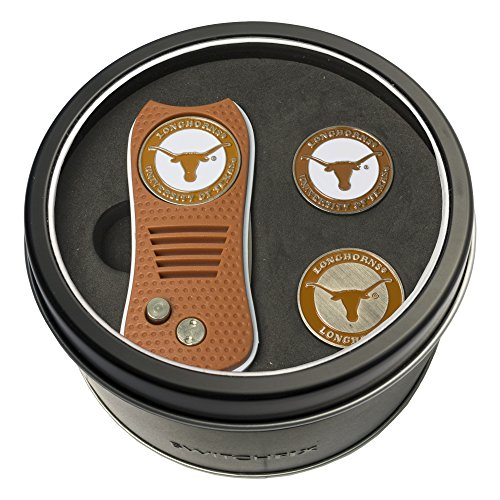 Texas Longhorns Gift Set - Team Golf NCAA Texas Longhorns Gift Set Switchfix Divot Tool with 3 Double-Sided Magnetic Ball Markers, Patented Single Prong Design, Causes Less Damage to Greens, Switchblade Mechanism