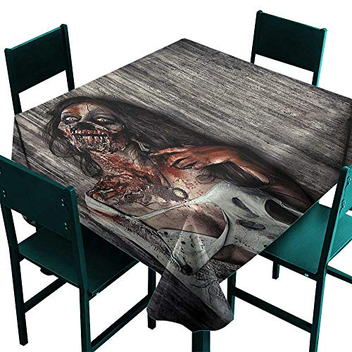 Zombie Decor Table Cloth Cover Angry Dead Woman Sacrifice Fantasy Mystic Night Halloween Image Dark Taupe Peach Red Small Square Tablecloth W 36