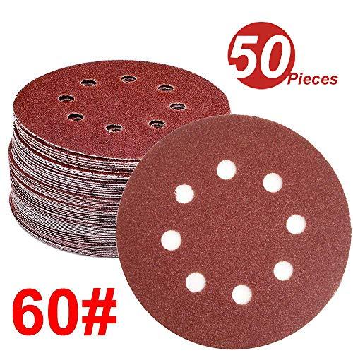 WINGONEER 50PCS Sanding Discs Pads, 5-Inch 8-Hole 60-Grit Hook and Loop Aluminium Oxide Sandpaper for Random Orbital Sander