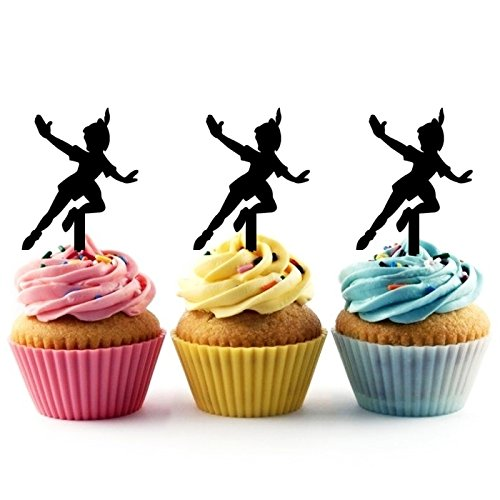 TA0028 Peter Pan Silhouette Party Wedding Birthday Acrylic Cupcake Toppers Decor 10 -