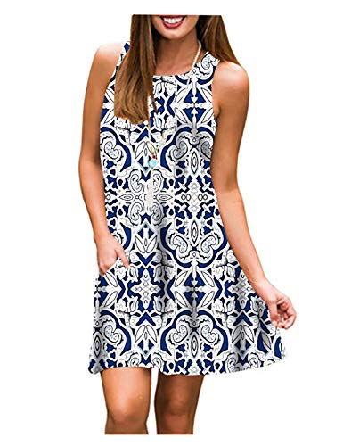 Tanst Sky Women Summer Sleeveless Damask Print T-Shirt Dress with Pockets(S-3XL)
