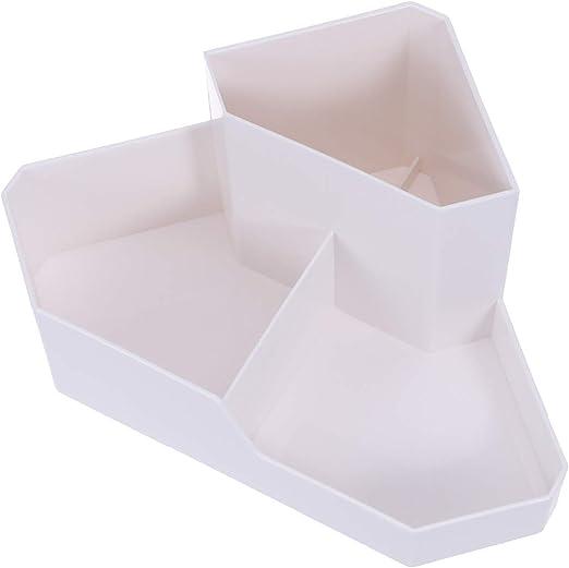 Cabilock - Caja de Almacenamiento de Maquillaje Multiusos para Esquinas, de plástico Irregular (Color Blanco): Amazon.es: Hogar