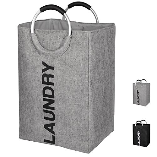 DOKEHOM DKA0007GY Linen Double Laundry Hamper, Large Collapsible Washing Basket, Foldable Clothes Bag - Durable and Easy to Clean (Grey)