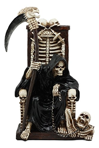 Ebros The Dark Lord Grim Reaper Seated On Skeletons And Skulls Throne Statue 11