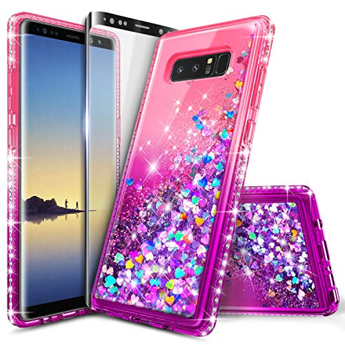 Galaxy Note 8 Case, NageBee Glitter Liquid Quicksand Waterfall Flowing Sparkle Shiny Bling Diamond Girls Cute Case w/[Full Cover Screen Protector Premium Clear] for Samsung Galaxy Note 8 -Pink/Purple