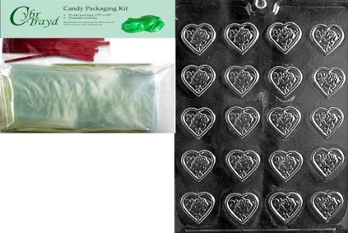 Cybrtrayd Mdk25R-V098 B.S. Rose Heart Mint Valentine Chocolate Candy Mold with Packaging Bundle, Includes 25 Cello Bags, 25 Red Twist Ties, Chocolate Molding -