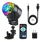 Samsion Disco Ball Party Light Sound Activated LED DJ Stage Dance Strobe Lights 7 Colors with USB Remote Sucker for Kids Toys Gifts Wedding Birthday Bar Summer Beach Halloween Christmas Car
