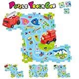 Puzzle Race Car Track Play Set,DIY Battery Operated Race Track Vehicle & Floor Play Mat,12 Kinds Electric Car Toys Randomly Send for 1,Runs on Variable Tracks