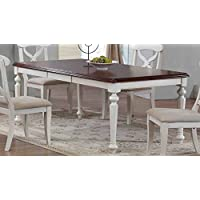 Sunset Trading Andrews Butterfly Leaf Table with Chestnut Finish Top, Antique White