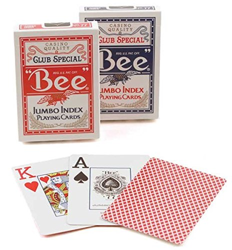 2 Decks Bee Jumbo Playing Cards Red & Blue Deck Casino Quality]()