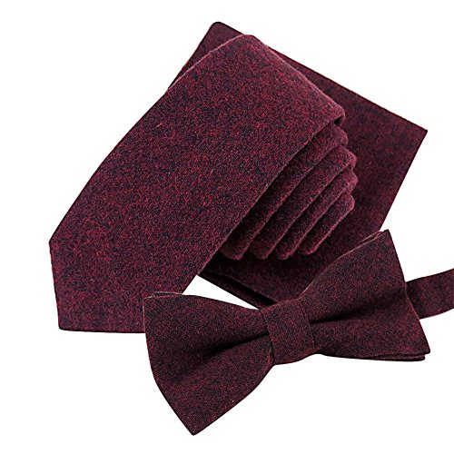 Gifts For Men ! Charberry Mens Knit Tie Necktie Sets Fashion Solid Color Soft Cotton 5.5cm Tie Bowtie Handkerchief (Wine) from Charberry