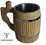Handmade Large Beer Mug made of Natural Eco-friendly Wood with Stainless Steel Metal Inside